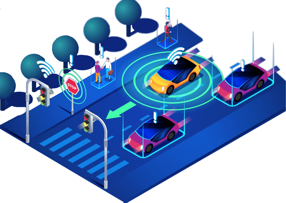 connected-vehicles-on-road